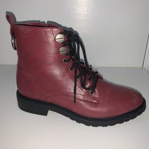 Maroon and black combat boots